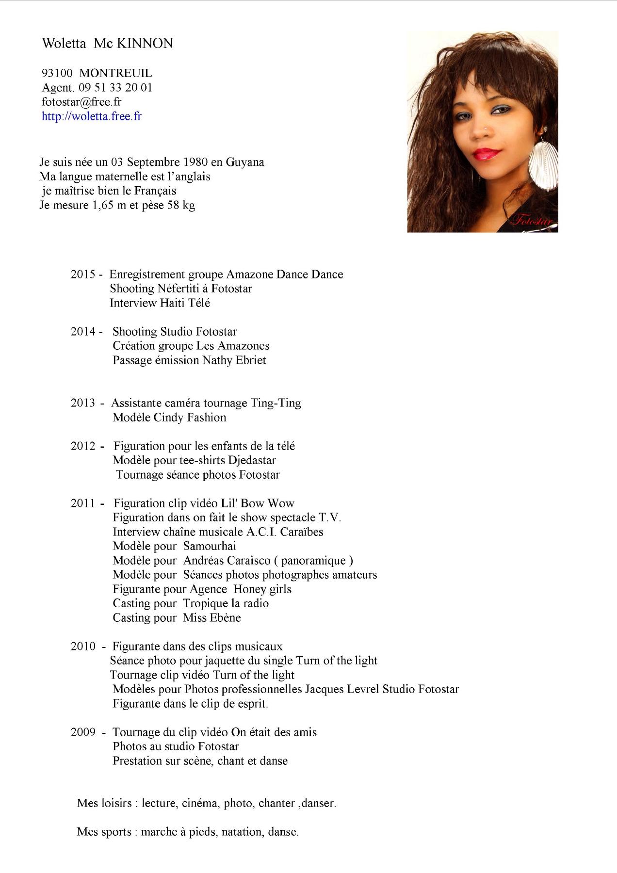 Exemple de CV auteur-compositeur interprete interprete